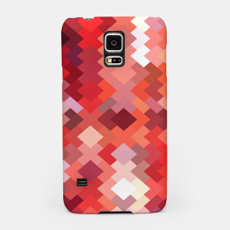 Thumbnail image of geometric square pixel pattern abstract in red and brown Samsung Case, Live Heroes