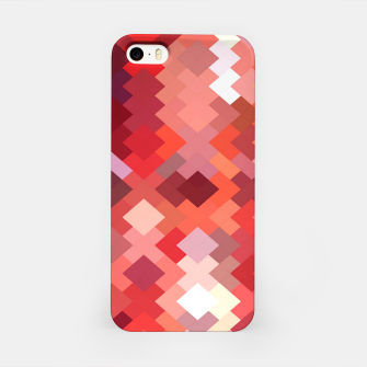 Thumbnail image of geometric square pixel pattern abstract in red and brown iPhone Case, Live Heroes