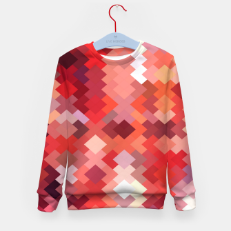Thumbnail image of geometric square pixel pattern abstract in red and brown Kid's sweater, Live Heroes