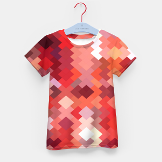 Thumbnail image of geometric square pixel pattern abstract in red and brown Kid's t-shirt, Live Heroes