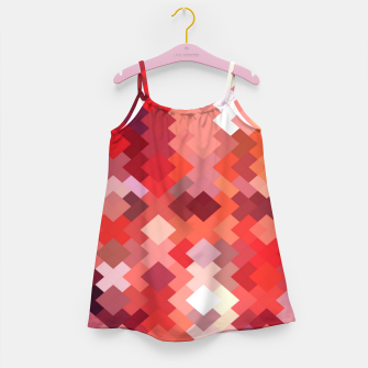 Thumbnail image of geometric square pixel pattern abstract in red and brown Girl's dress, Live Heroes