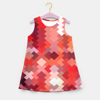 Thumbnail image of geometric square pixel pattern abstract in red and brown Girl's summer dress, Live Heroes