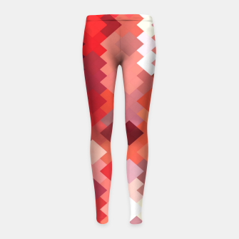 Thumbnail image of geometric square pixel pattern abstract in red and brown Girl's leggings, Live Heroes