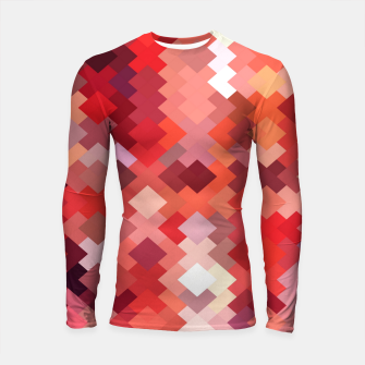 Thumbnail image of geometric square pixel pattern abstract in red and brown Longsleeve rashguard , Live Heroes