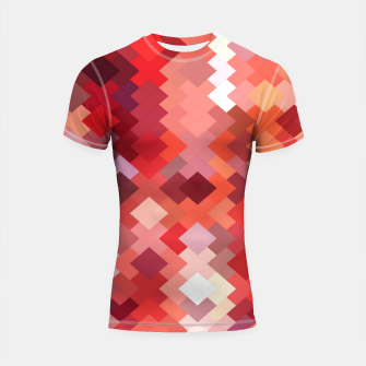 Thumbnail image of geometric square pixel pattern abstract in red and brown Shortsleeve rashguard, Live Heroes