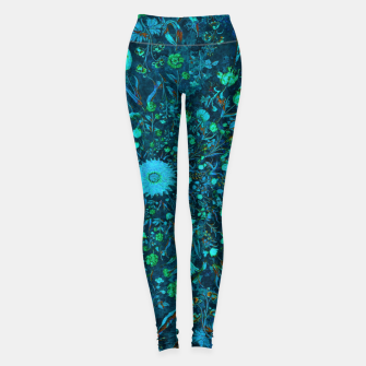Miniatur Blue Green Medieval Flowers Leggings, Live Heroes