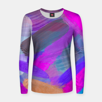 Thumbnail image of pink brown purple blue painting abstract background Women sweater, Live Heroes