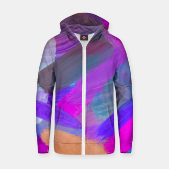 Thumbnail image of pink brown purple blue painting abstract background Zip up hoodie, Live Heroes