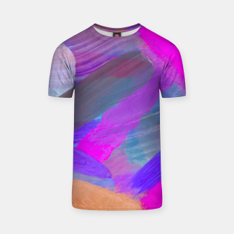Thumbnail image of pink brown purple blue painting abstract background T-shirt, Live Heroes