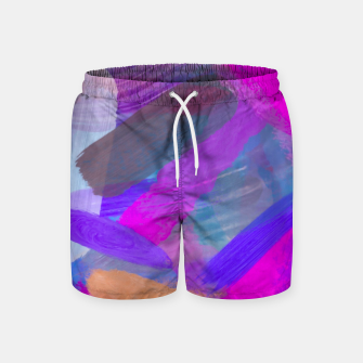 Thumbnail image of pink brown purple blue painting abstract background Swim Shorts, Live Heroes