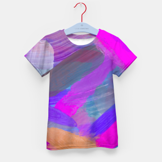 Thumbnail image of pink brown purple blue painting abstract background Kid's t-shirt, Live Heroes