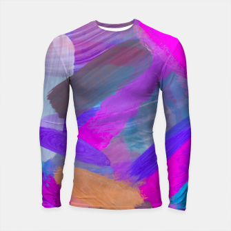 Thumbnail image of pink brown purple blue painting abstract background Longsleeve rashguard , Live Heroes