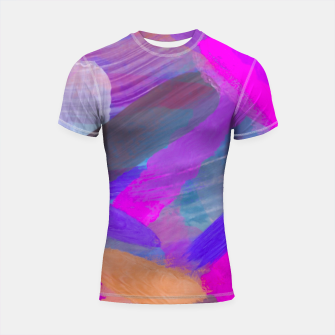 Thumbnail image of pink brown purple blue painting abstract background Shortsleeve rashguard, Live Heroes