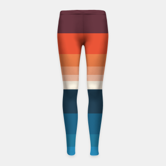 Miniature de image de HORIZON STRIPE IN ORANGE & BLUE Girl's leggings, Live Heroes