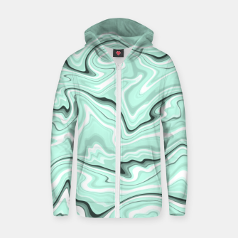Miniature de image de Ice cold blue marble stone, light turquoise color print Zip up hoodie, Live Heroes