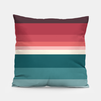 Thumbnail image of HORIZON STRIPE IN RED & TEAL Pillow, Live Heroes