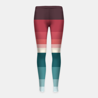 Miniature de image de HORIZON STRIPE IN RED & TEAL Girl's leggings, Live Heroes