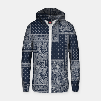 PATCHWORK BANDANA PRINT IN NAVY Zip up hoodie thumbnail image