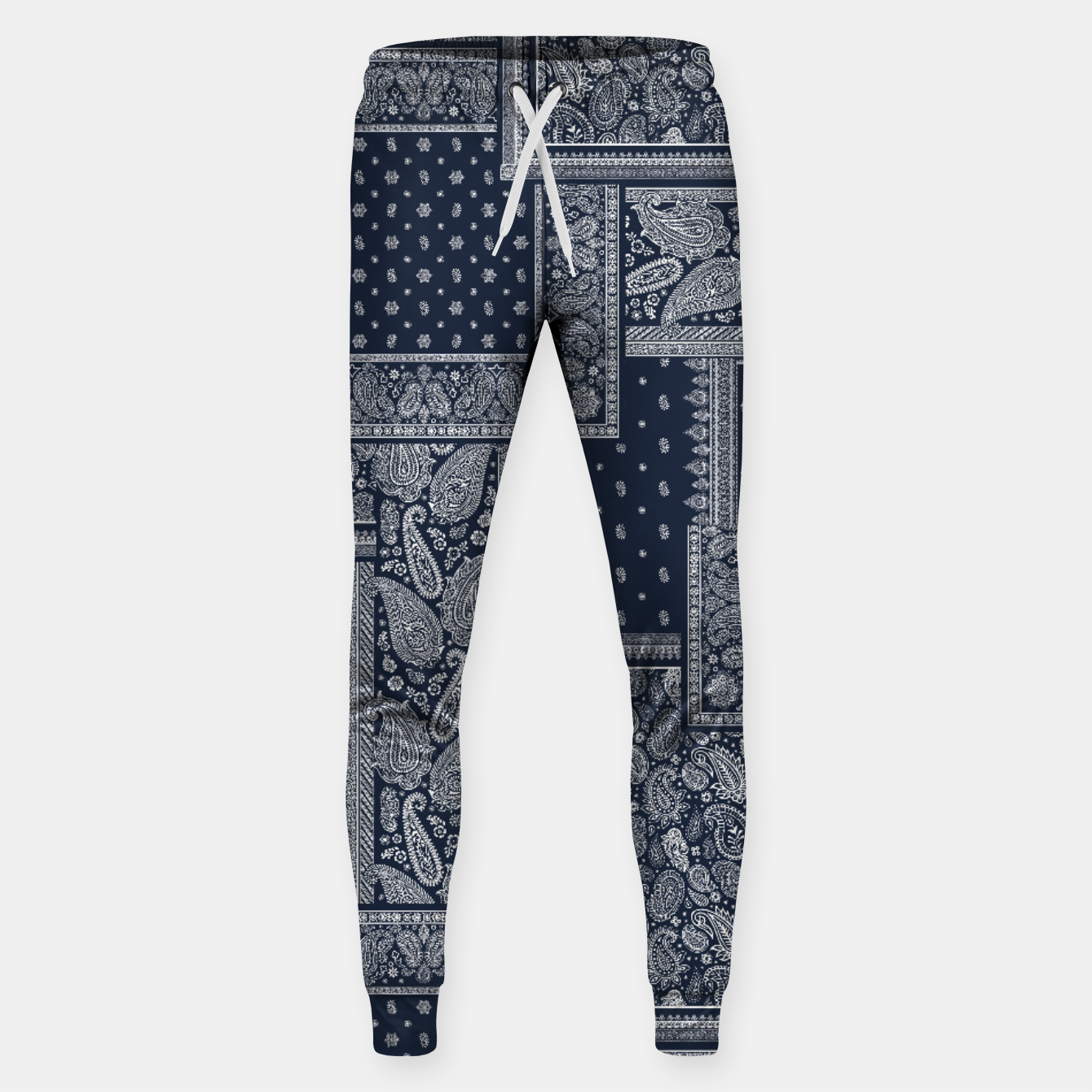 Image of PATCHWORK BANDANA PRINT IN NAVY Sweatpants - Live Heroes