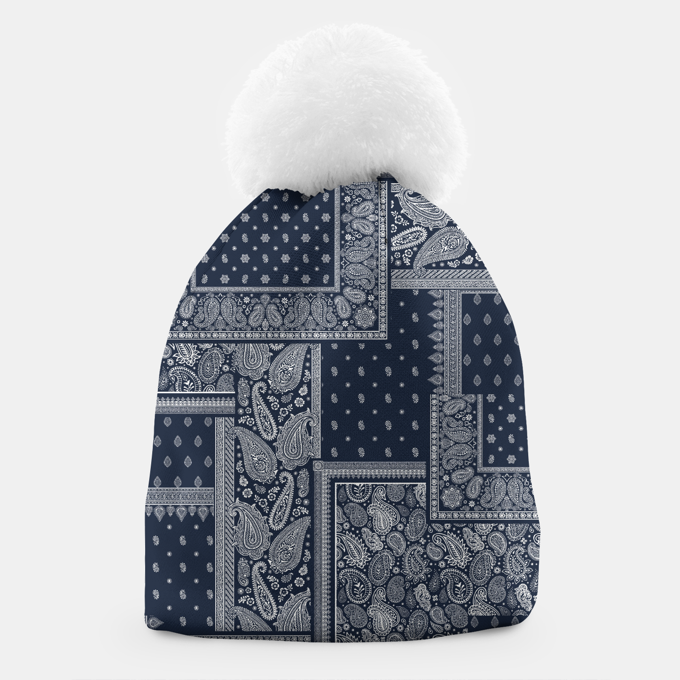 Image of PATCHWORK BANDANA PRINT IN NAVY Beanie - Live Heroes