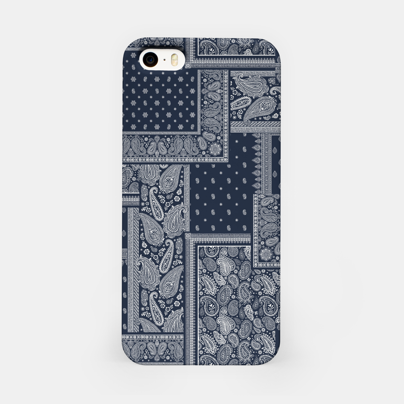 Image of PATCHWORK BANDANA PRINT IN NAVY iPhone Case - Live Heroes