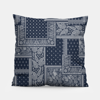 PATCHWORK BANDANA PRINT IN NAVY Pillow thumbnail image
