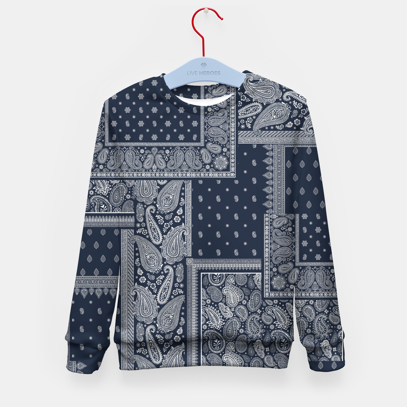 Image of PATCHWORK BANDANA PRINT IN NAVY Kid's sweater - Live Heroes
