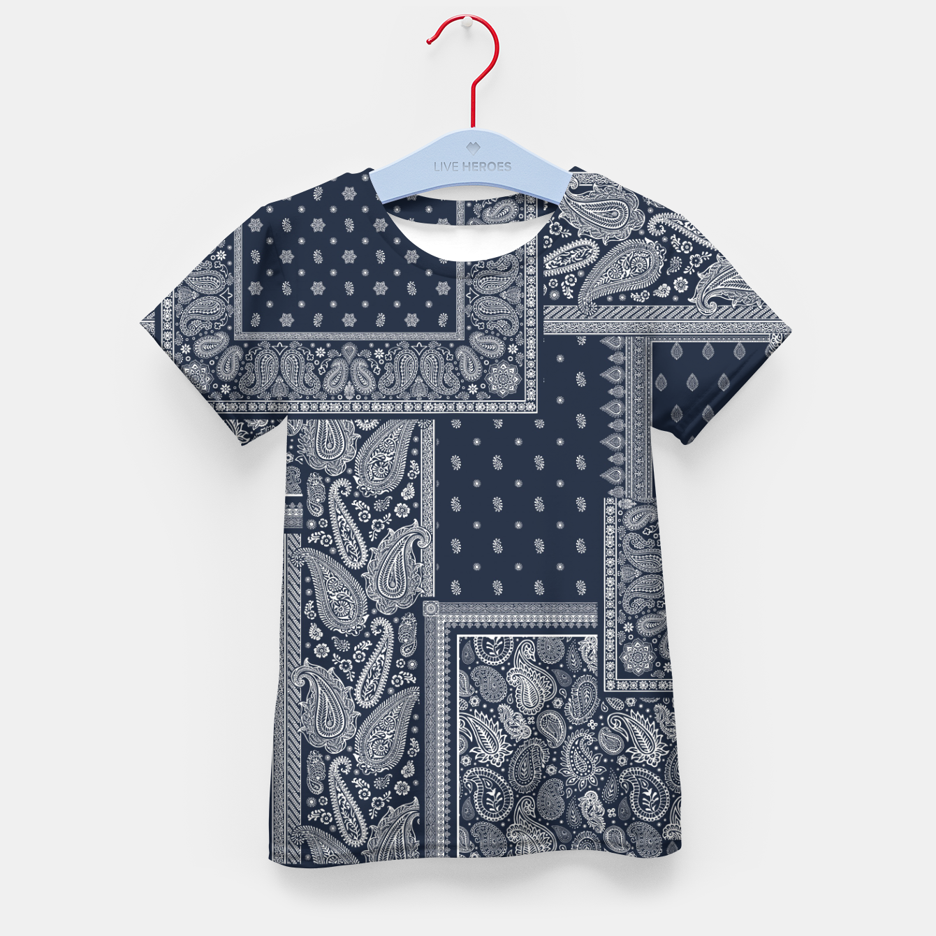 Image of PATCHWORK BANDANA PRINT IN NAVY Kid's t-shirt - Live Heroes