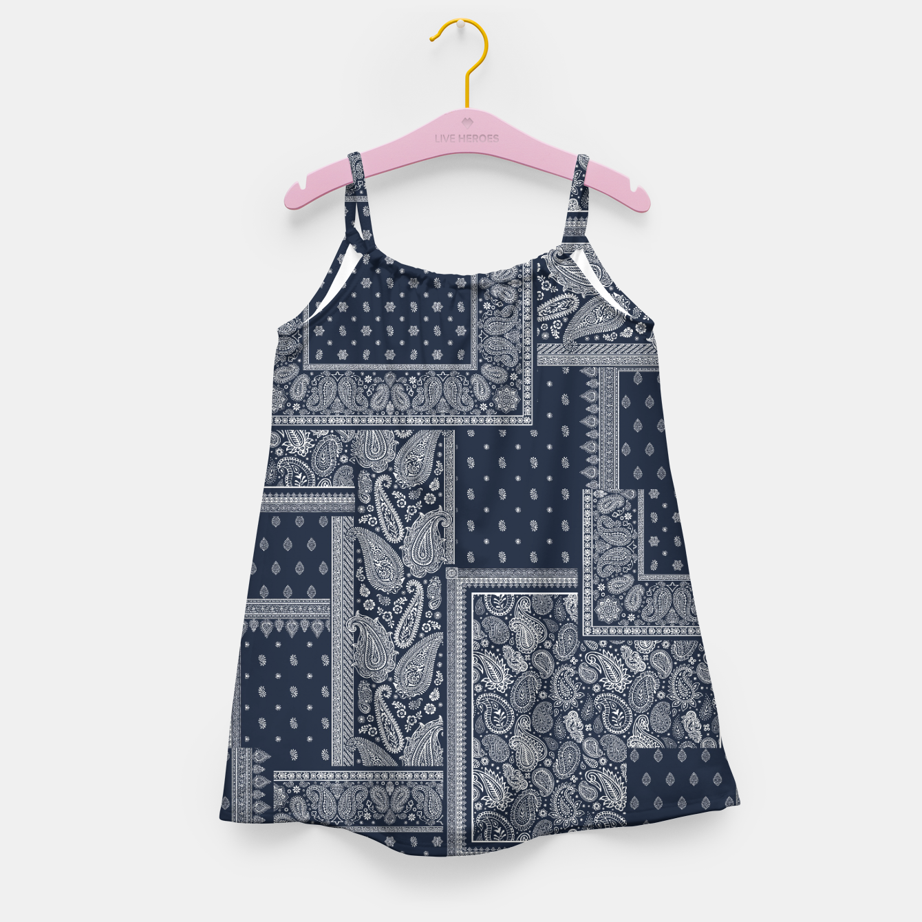 Image of PATCHWORK BANDANA PRINT IN NAVY Girl's dress - Live Heroes