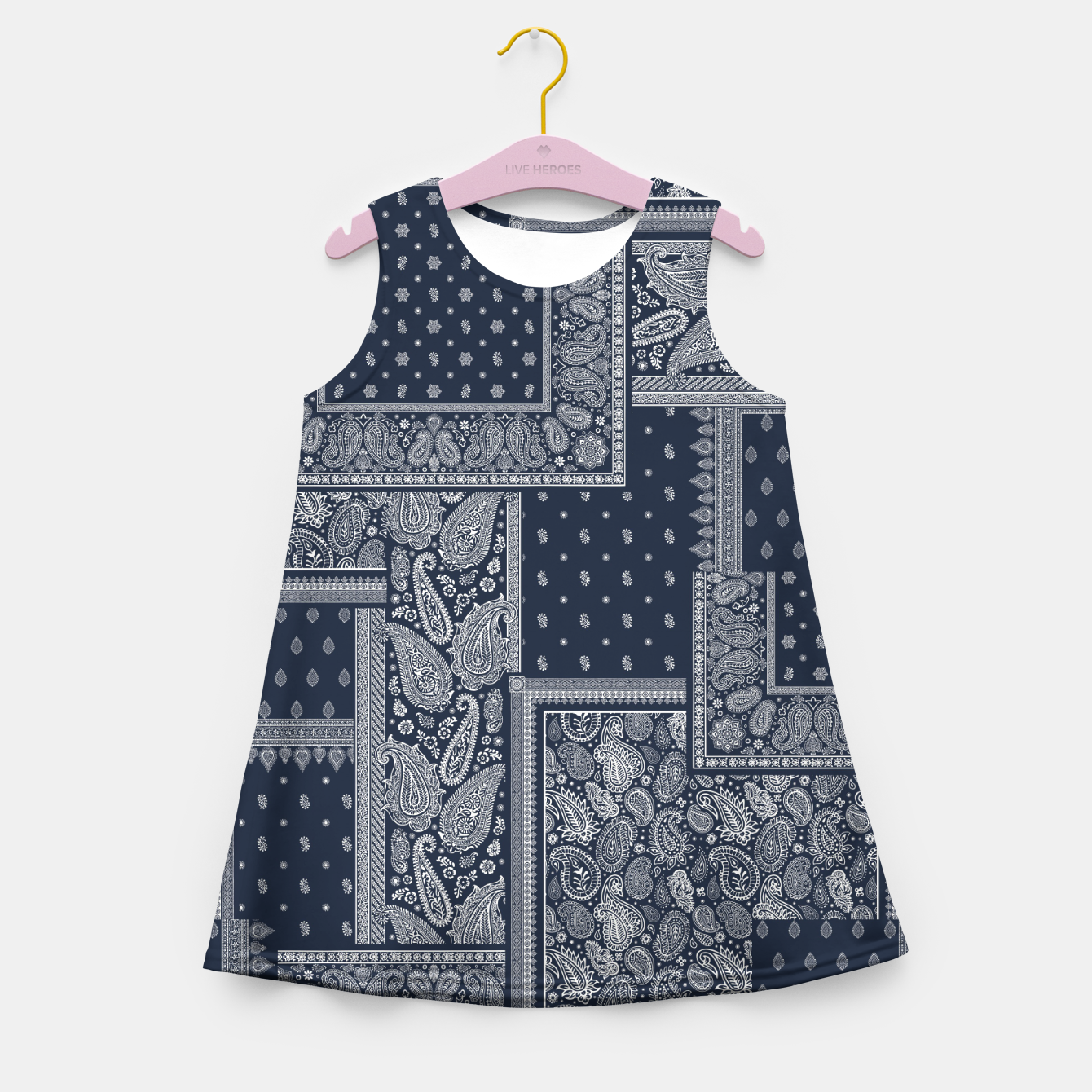 Image of PATCHWORK BANDANA PRINT IN NAVY Girl's summer dress - Live Heroes