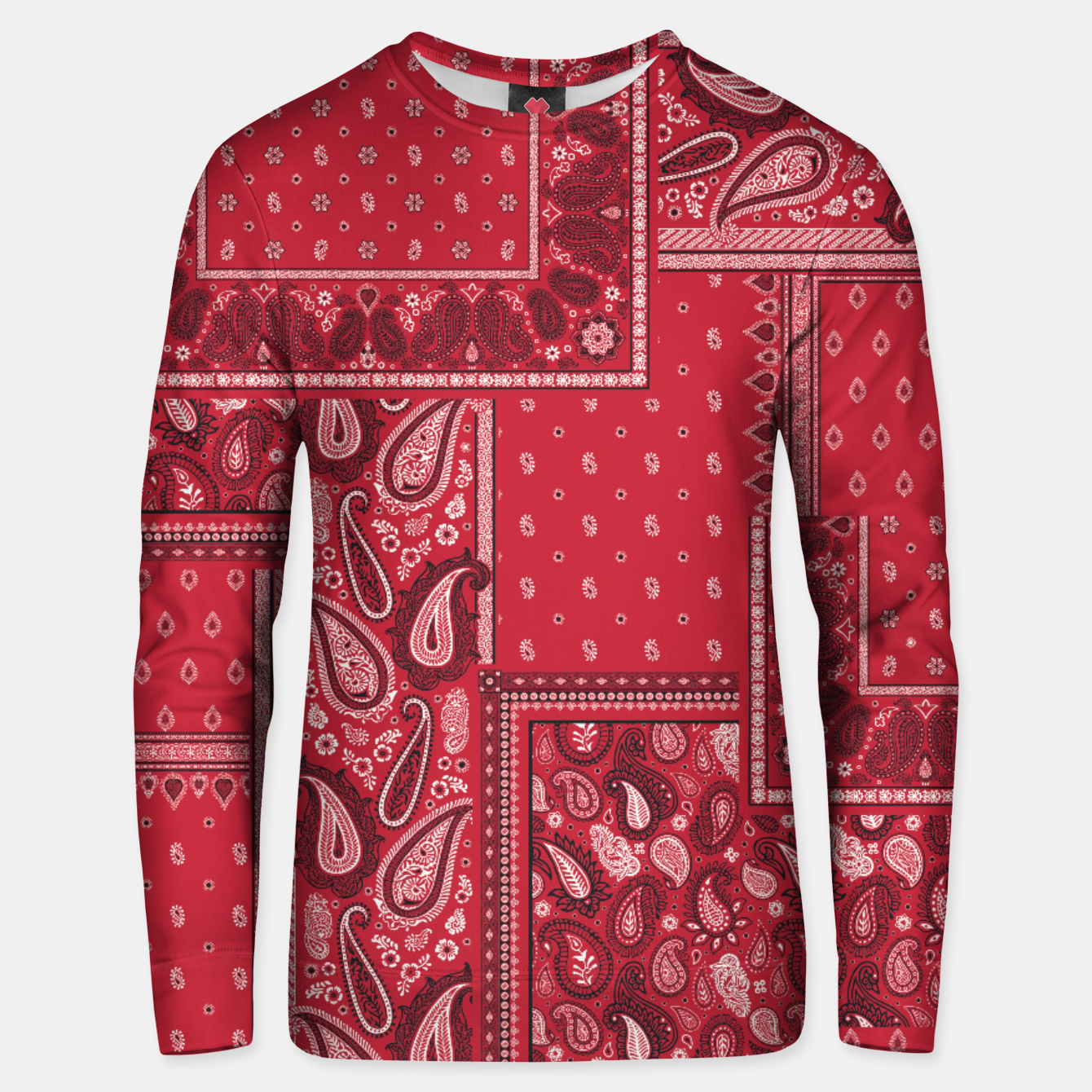 Image of PATCHWORK BANDANA PRINT IN RED Unisex sweater - Live Heroes
