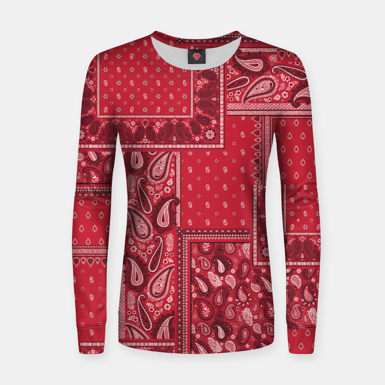 Image of PATCHWORK BANDANA PRINT IN RED Women sweater - Live Heroes