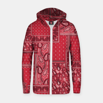 PATCHWORK BANDANA PRINT IN RED Zip up hoodie thumbnail image