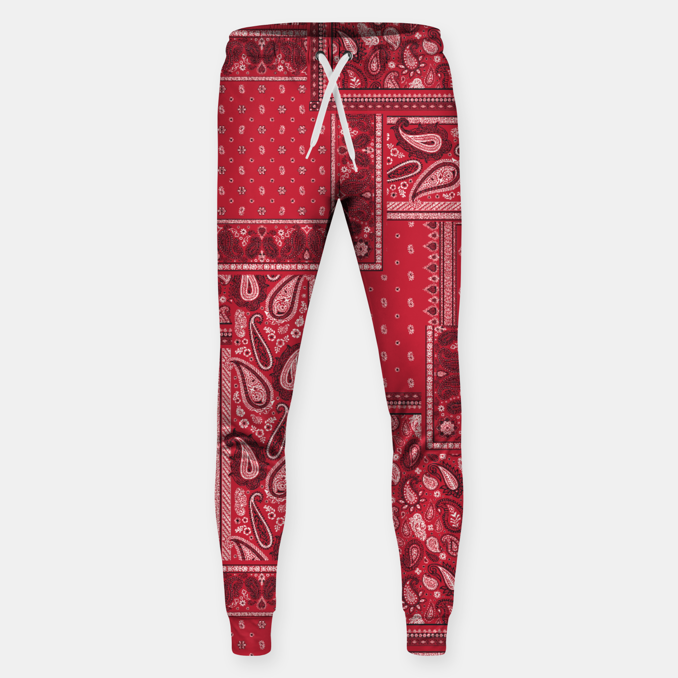 Image of PATCHWORK BANDANA PRINT IN RED Sweatpants - Live Heroes