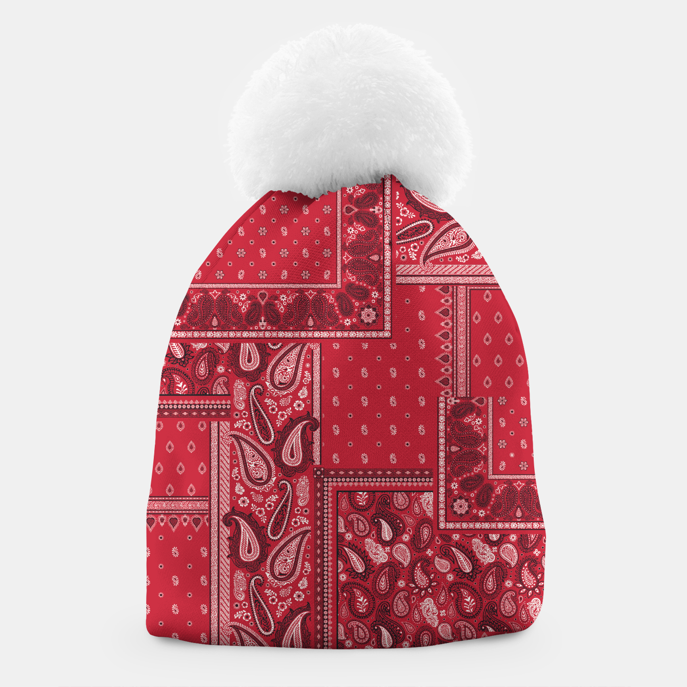 Image of PATCHWORK BANDANA PRINT IN RED Beanie - Live Heroes