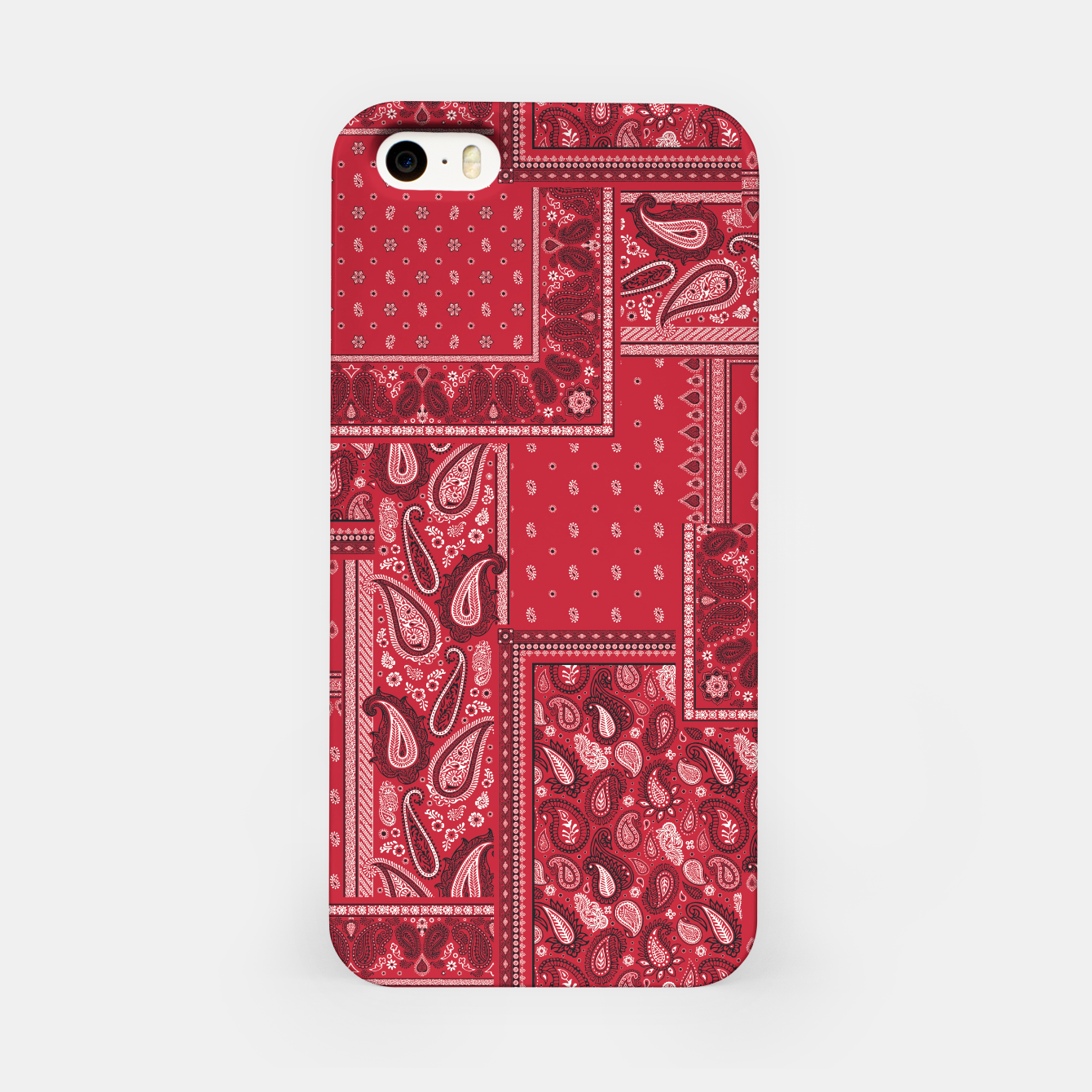 Image of PATCHWORK BANDANA PRINT IN RED iPhone Case - Live Heroes