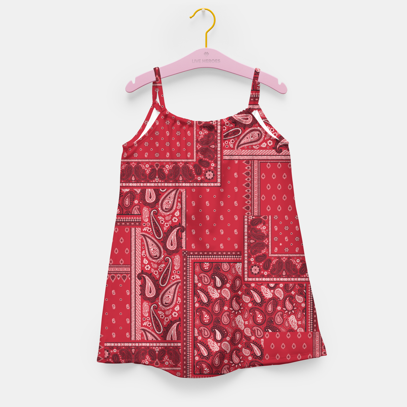 Image of PATCHWORK BANDANA PRINT IN RED Girl's dress - Live Heroes