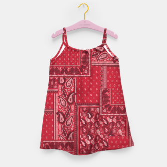 Thumbnail image of PATCHWORK BANDANA PRINT IN RED Girl's dress, Live Heroes