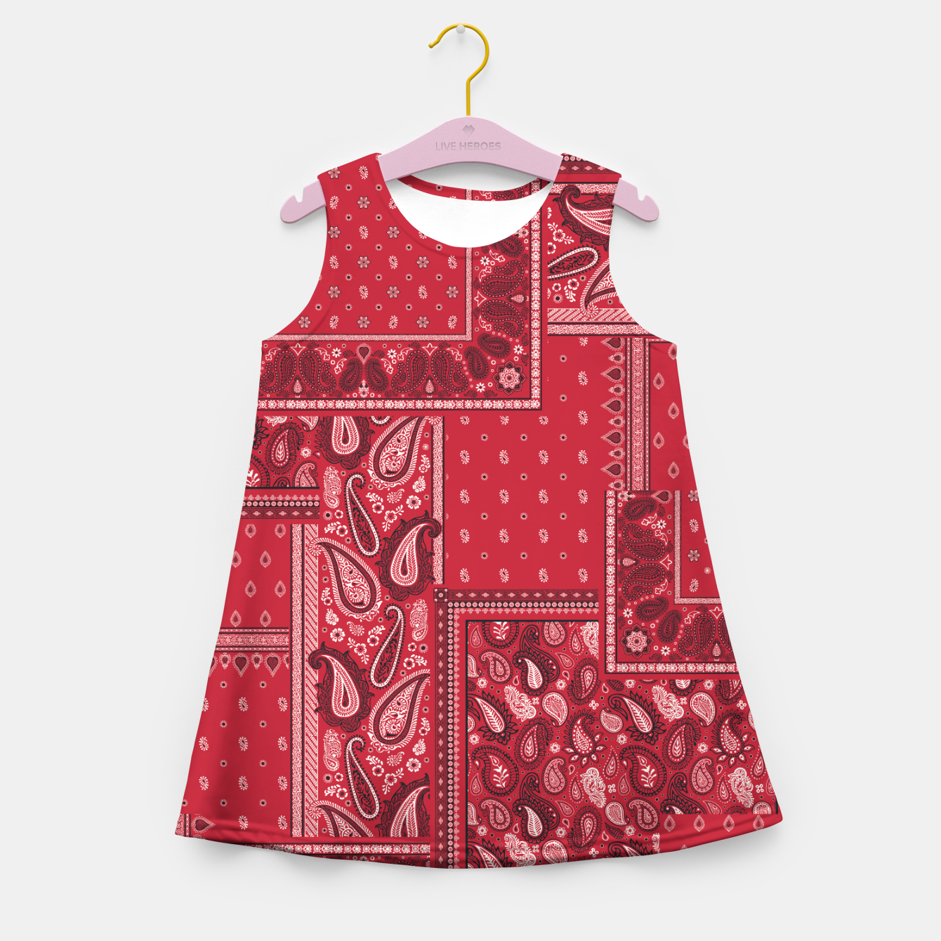 Image of PATCHWORK BANDANA PRINT IN RED Girl's summer dress - Live Heroes