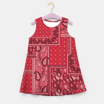 Thumbnail image of PATCHWORK BANDANA PRINT IN RED Girl's summer dress, Live Heroes