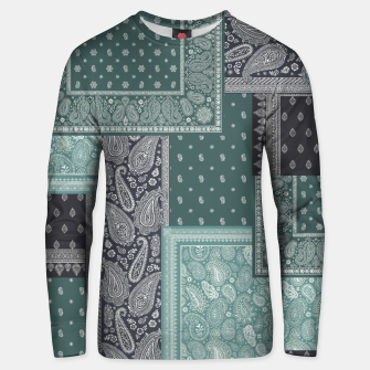 PATCHWORK BANDANA PRINT IN GREEN & AQUA Unisex sweater thumbnail image
