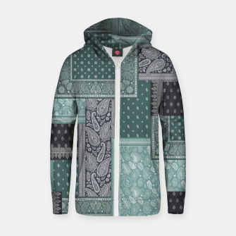 PATCHWORK BANDANA PRINT IN GREEN & AQUA Zip up hoodie thumbnail image