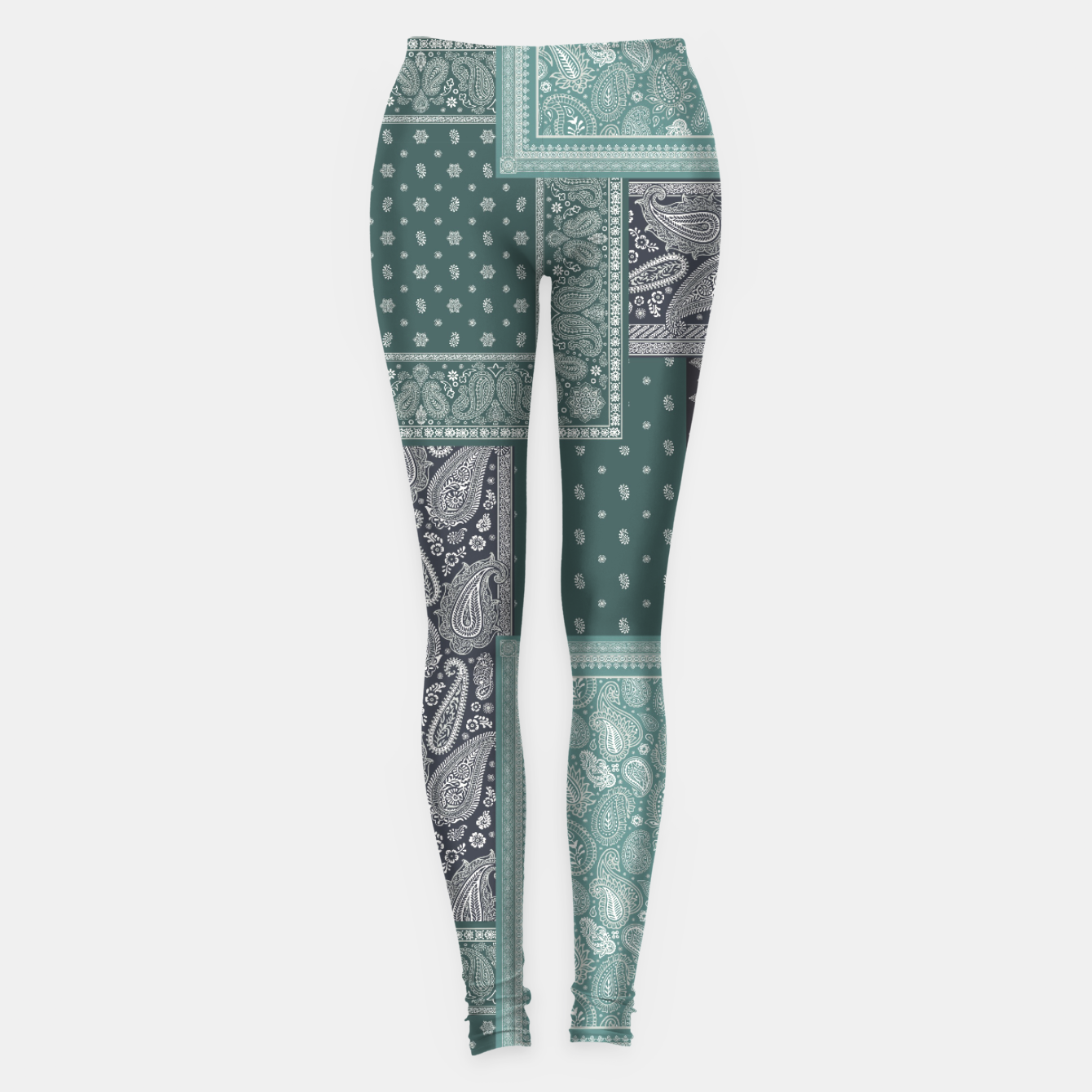 Image of PATCHWORK BANDANA PRINT IN GREEN & AQUA Leggings - Live Heroes
