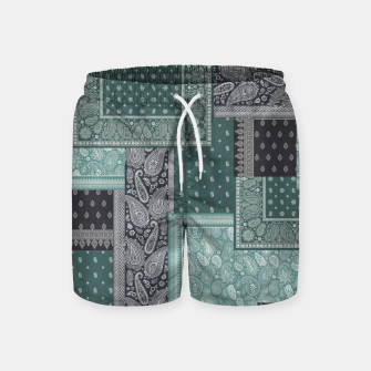 PATCHWORK BANDANA PRINT IN GREEN & AQUA Swim Shorts thumbnail image