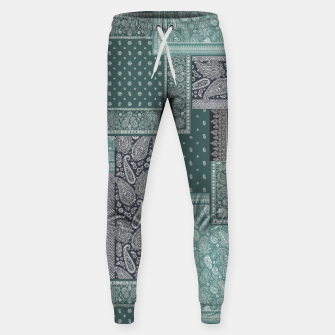 PATCHWORK BANDANA PRINT IN GREEN & AQUA Sweatpants thumbnail image