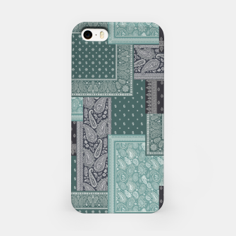 PATCHWORK BANDANA PRINT IN GREEN & AQUA iPhone Case thumbnail image