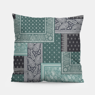 PATCHWORK BANDANA PRINT IN GREEN & AQUA Pillow thumbnail image
