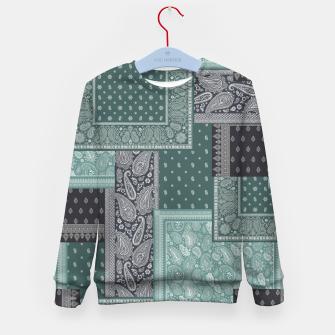 PATCHWORK BANDANA PRINT IN GREEN & AQUA Kid's sweater thumbnail image