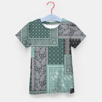 PATCHWORK BANDANA PRINT IN GREEN & AQUA Kid's t-shirt thumbnail image