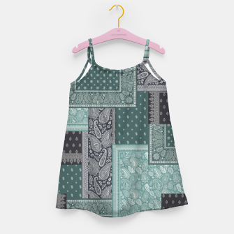 PATCHWORK BANDANA PRINT IN GREEN & AQUA Girl's dress thumbnail image